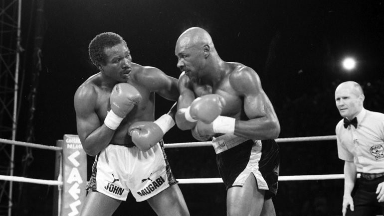 Marvin Hagler after hitting Mugabi with a solid right hand during their match.